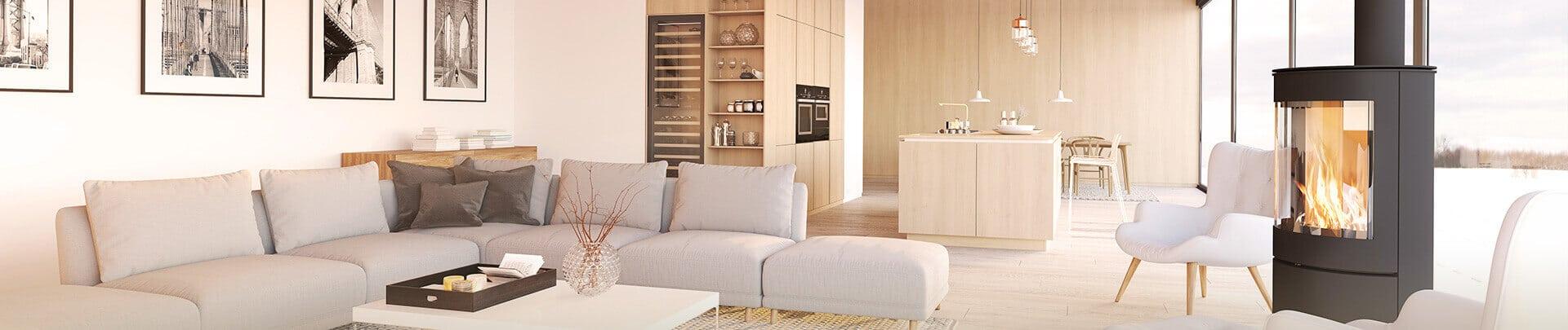 Wohnzimmer mit Kamin